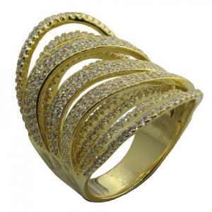anillo alargado tiras de piedras cruzadas, amarillo