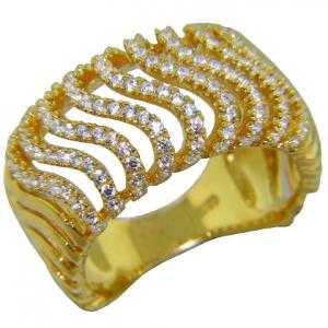 anillo ancho ondas de piedras, amarillo