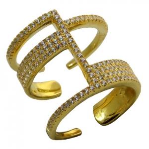 anillo abierto con piedras, amarillo