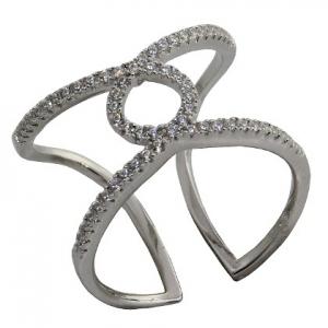 anillo abierto, cruzado, con piedras, blanco