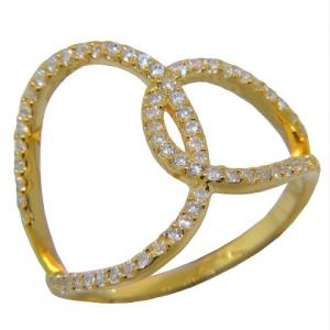 anillo ondeado, cruzado con piedras amarillo