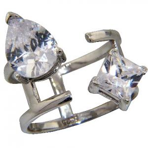 anillo abierto, piedra en forma de gota y piedra cuadrada, blanco