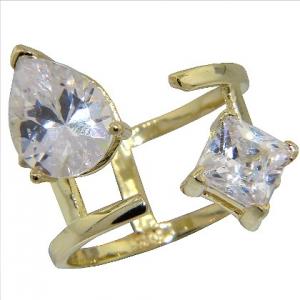 anillo abierto, piedra en forma de gota y piedra cuadrada, amarillo