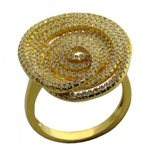 anillo reedondo espiral de piedras, amarillo